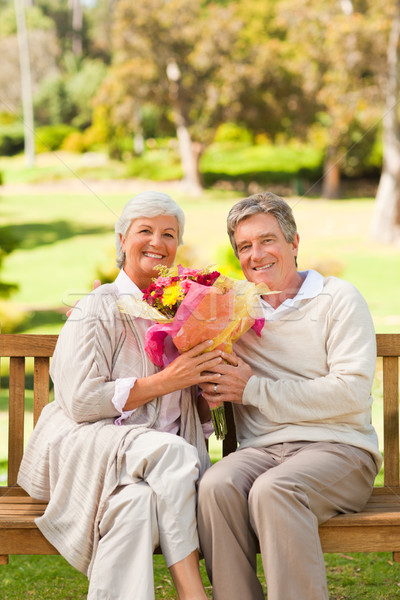 Senior homem oferta flores esposa mulher Foto stock © wavebreak_media