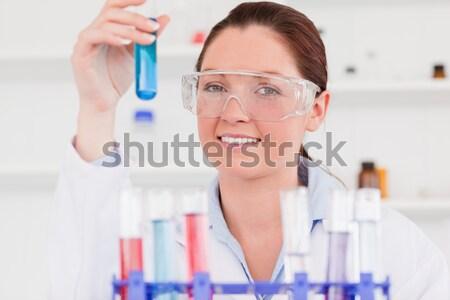 Stock fotó: Káprázatos · női · tart · kémcső · labor · nő