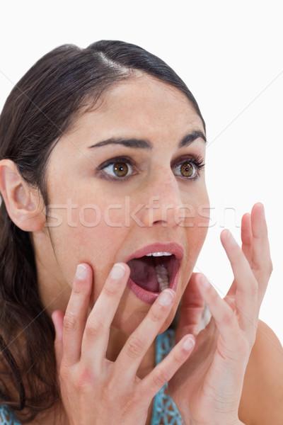Stock fotó: Portré · megrémült · fiatal · nő · gesztikulál · fehér · kezek