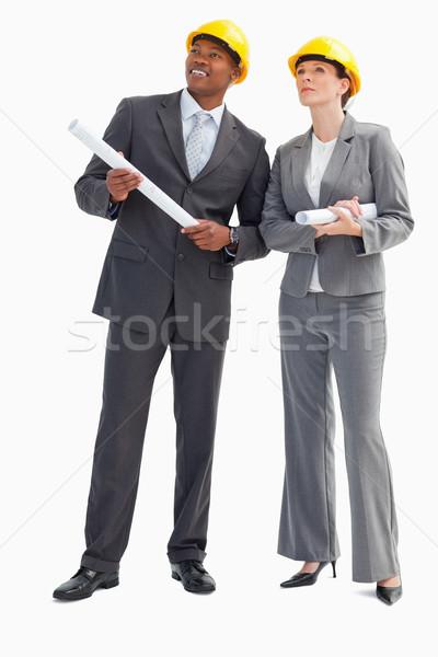 бизнесмен женщину отмечает бумаги улыбка Сток-фото © wavebreak_media