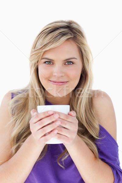 Młodych kubek kawy biały Zdjęcia stock © wavebreak_media