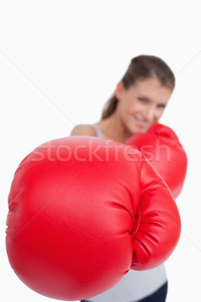 肖像 笑顔の女性 ボクシング 白 女性 手 ストックフォト © wavebreak_media