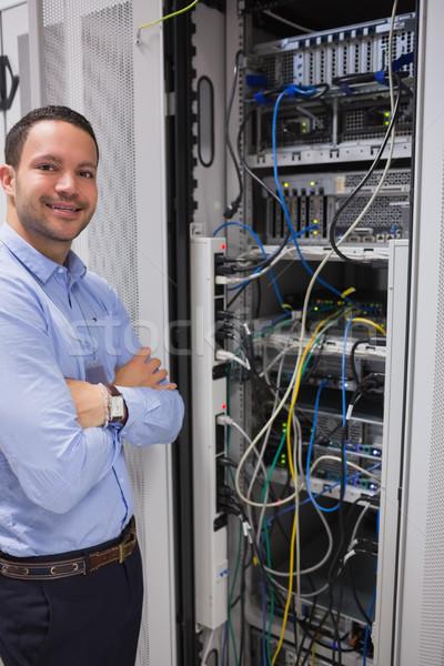 улыбаясь человека Постоянный серверы центр обработки данных компьютер Сток-фото © wavebreak_media