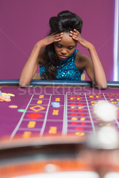 Donna roulette casino bellezza tavola nero Foto d'archivio © wavebreak_media