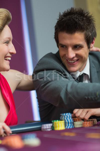 Pár mosolyog egyéb rulett asztal kaszinó Stock fotó © wavebreak_media