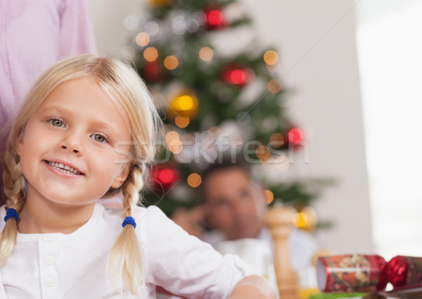Cute girl smiling at christmas Stock photo © wavebreak_media