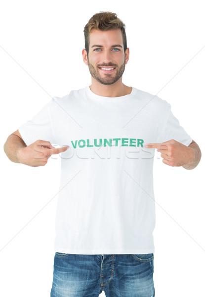 Foto stock: Retrato · feliz · masculino · voluntário · indicação · ajudar