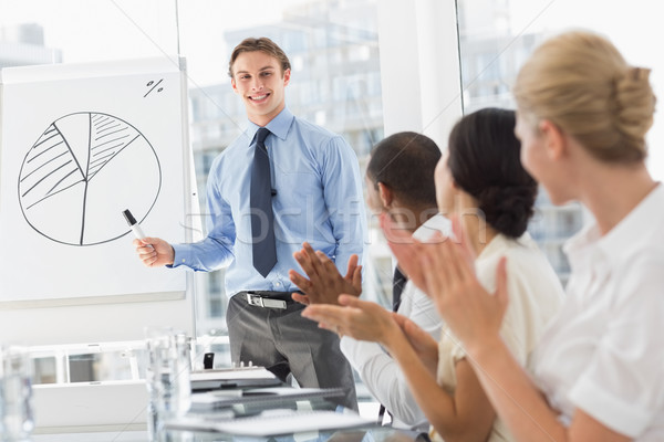 Colleagues applauding businessman after presentation Stock photo © wavebreak_media