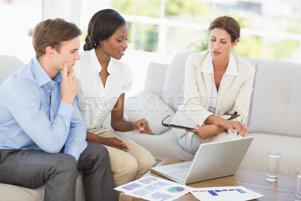 üzleti csapat megbeszélés kanapé iroda laptop öltöny Stock fotó © wavebreak_media