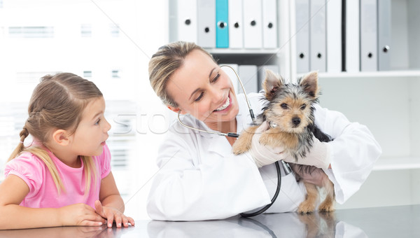 Veterinarian examining puppy with girl Stock photo © wavebreak_media