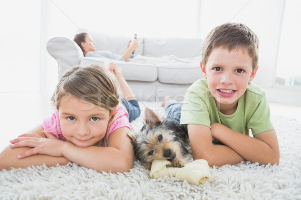 Siblings lying on rug with yorkshire terrier smiling at camera Stock photo © wavebreak_media