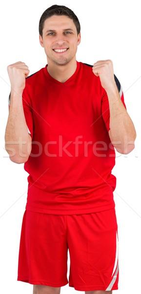 Aufgeregt jungen Fußballspieler Jubel weiß Mann Stock foto © wavebreak_media
