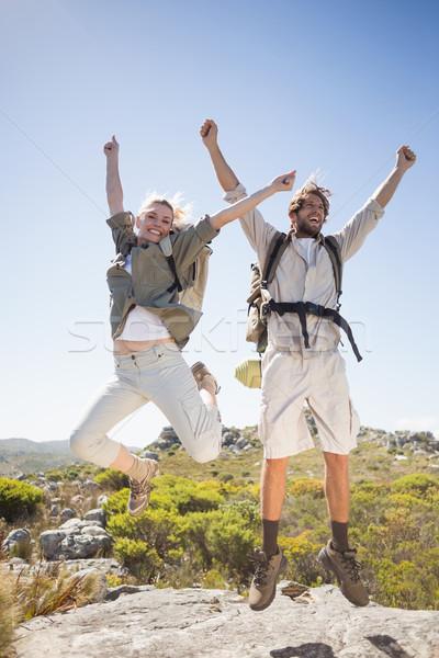 ハイキング カップル 立って 山 地形 ストックフォト © wavebreak_media