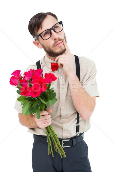 Hipster bietet Haufen Rosen weiß stieg Stock foto © wavebreak_media
