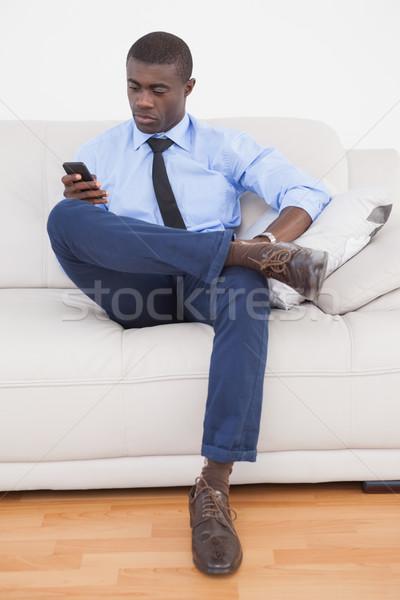 Handsome businessman sending text on sofa  Stock photo © wavebreak_media
