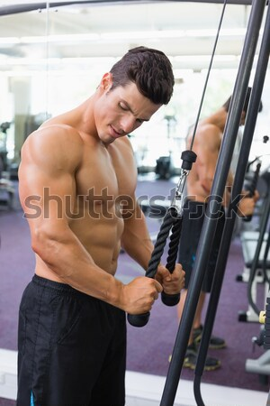 Középső rész póló nélkül izmos férfi emel súlyzó Stock fotó © wavebreak_media
