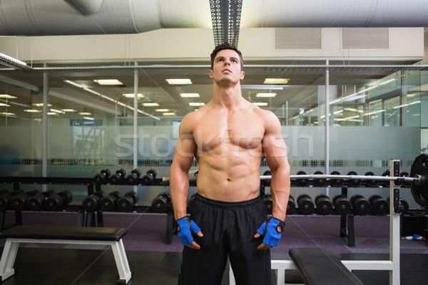 Ciddi gömleksiz kas adam spor salonu portre Stok fotoğraf © wavebreak_media