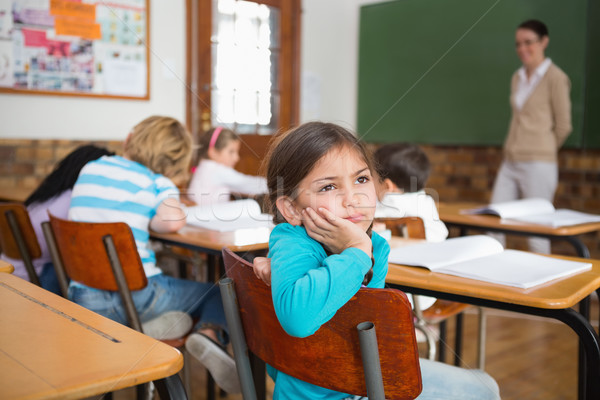 Figyelmes ül asztal általános iskola lány iskola Stock fotó © wavebreak_media