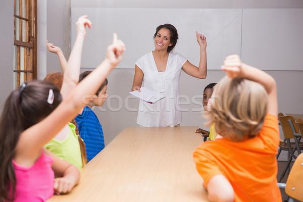 Aranyos iskolás kezek osztály általános iskola nő Stock fotó © wavebreak_media