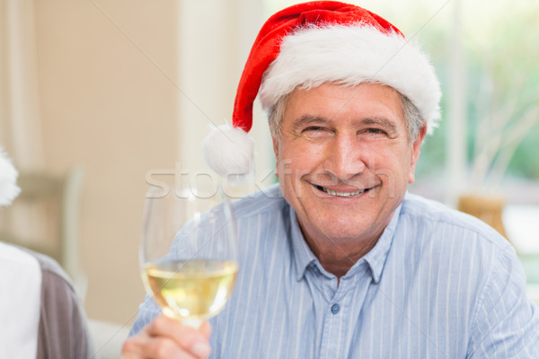 Smiling mature man in santa hat toasting with white wine Stock photo © wavebreak_media