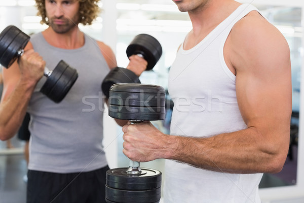 Mid section of men exercising with dumbbells in gym Stock photo © wavebreak_media