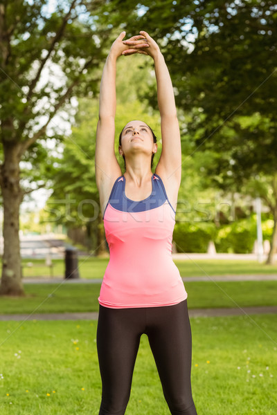 Fit brunette stretching her arms  Stock photo © wavebreak_media