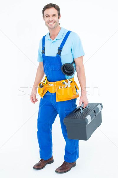 Boldog vízvezetékszerelő hordoz szerszámosláda teljes alakos portré Stock fotó © wavebreak_media