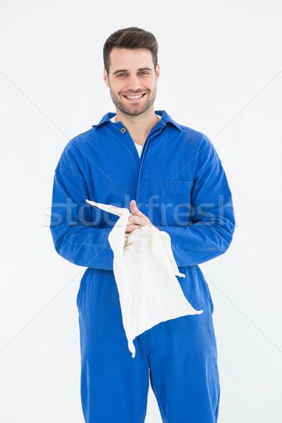 Mannelijke monteur handen doek portret glimlachend Stockfoto © wavebreak_media
