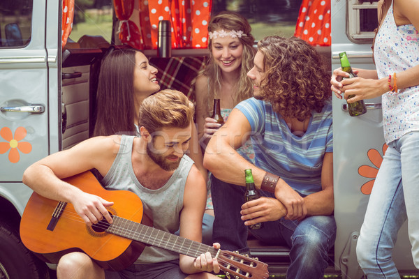 Hipster friends in camper van at festival Stock photo © wavebreak_media