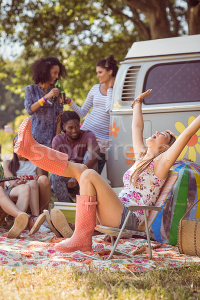 Carefree hipster having fun on campsite Stock photo © wavebreak_media