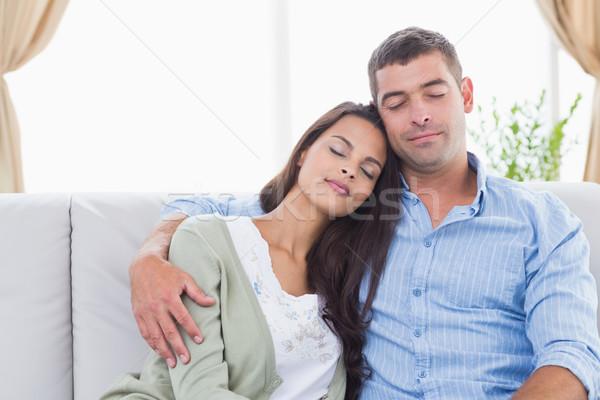 çift gözleri kapalı oturma kanepe seven ev Stok fotoğraf © wavebreak_media