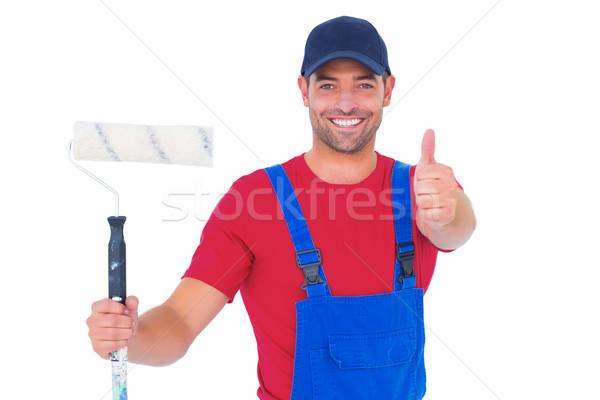 Foto stock: Sorridente · handyman · pintar · retrato