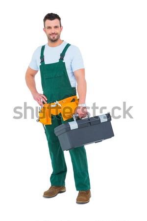 Glimlachend timmerman toolbox witte man gelukkig Stockfoto © wavebreak_media