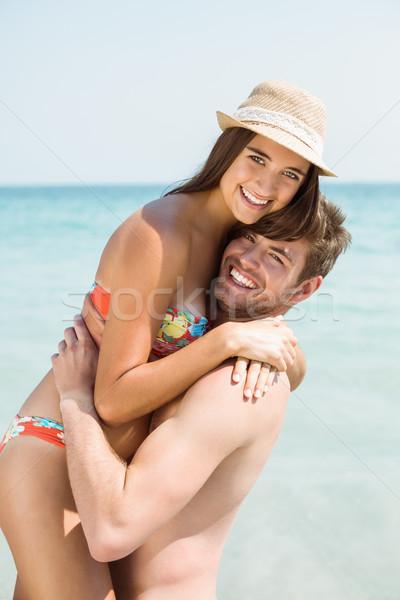 Stock photo: happy couple smiling