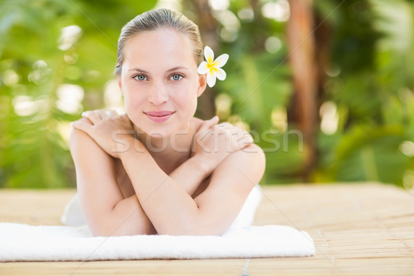 穏やかな ブロンド タオル 女性 花 ストックフォト © wavebreak_media