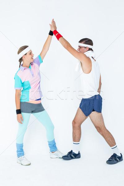 Hipszter pár sportruha fehér férfi boldog Stock fotó © wavebreak_media