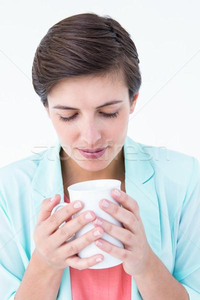 случайный брюнетка питьевой кофе белый женщины Сток-фото © wavebreak_media