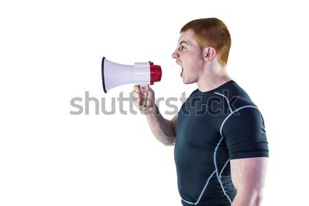 Enojado rugby jugador megáfono perfil Foto stock © wavebreak_media