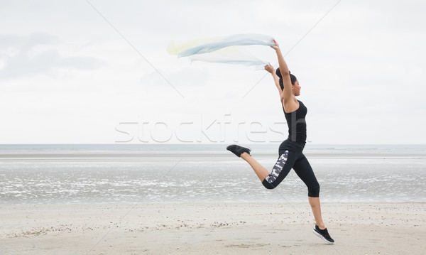 Fitt lány sál tengerpart tenger fitnessz Stock fotó © wavebreak_media