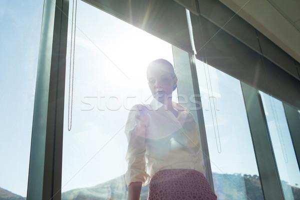üzletasszony áll ablak iroda alulról fotózva kilátás Stock fotó © wavebreak_media