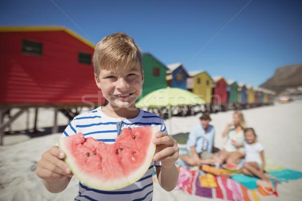 Retrato sorridente menino melancia retrato de família Foto stock © wavebreak_media