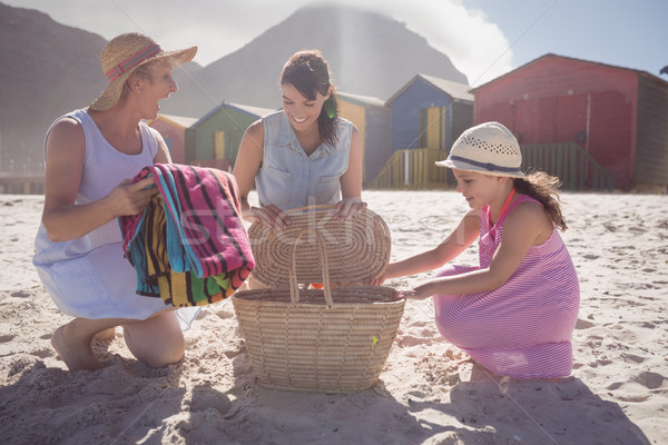 Happy multi-generation family by picnic basket at beach Stock photo © wavebreak_media