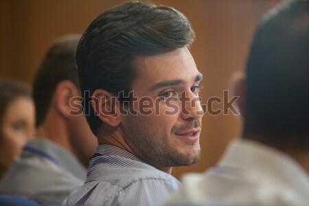 Man glimlachend maaltijd restaurant voedsel glas Stockfoto © wavebreak_media
