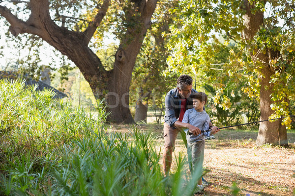 отцом сына рыбалки реке лес человека мальчика Сток-фото © wavebreak_media