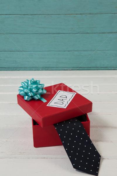 Stropdas geschenk kopiëren houten plank Stockfoto © wavebreak_media