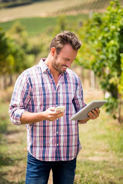Fiatalember telefon tabletta szőlőskert mosolyog napos idő Stock fotó © wavebreak_media