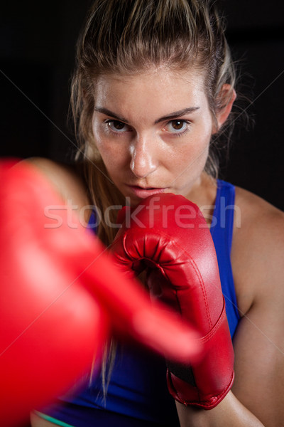 Mujer boxeo fitness estudio determinado Foto stock © wavebreak_media