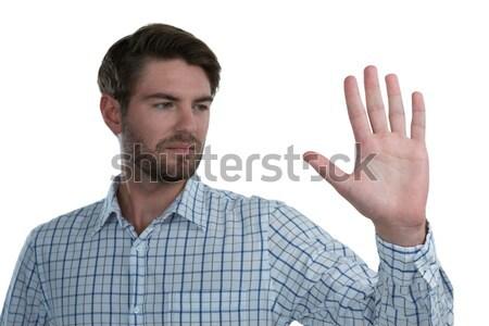 Man stopteken witte knappe man hand Stockfoto © wavebreak_media