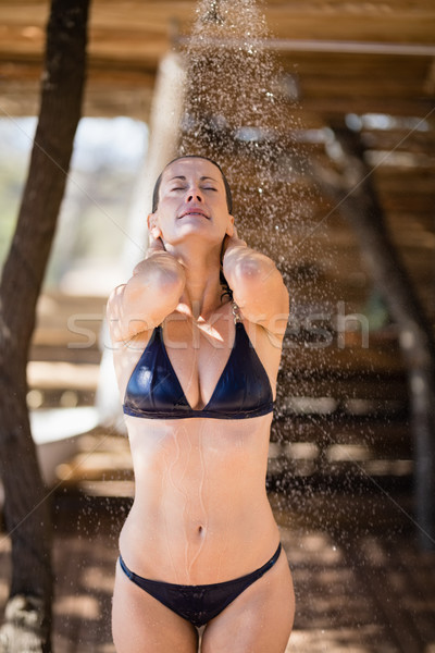 Vrouw bad douche safari vakantie Stockfoto © wavebreak_media