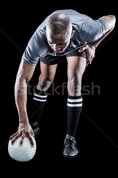 Rögbi játékos elvesz pozició fekete sport Stock fotó © wavebreak_media